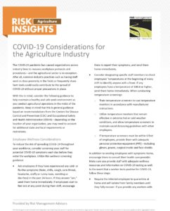 COVID-19 Considerations for the Agriculture Industry