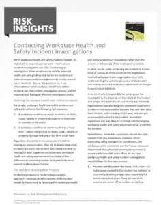 Risk Insights - Conducting Workplace Health and Safety Incident Investigations